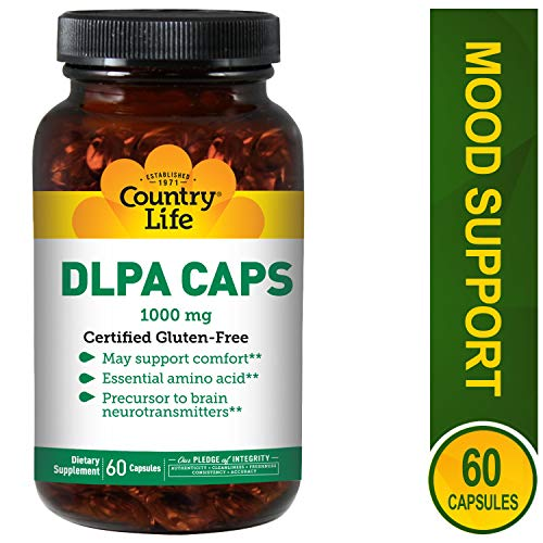 Country Life DLPA CAPS 1000 mg - 60 Capsules - Support Comfort - Amino Acid - Precursor to Brain neurotransmitters