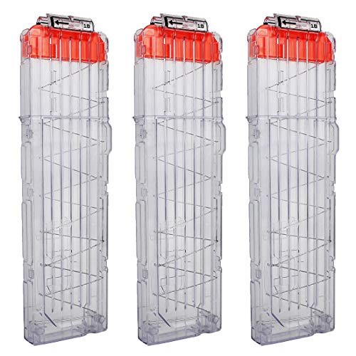 (OIMIO 18-Darts Magazines Clips, 3 Pack 18 Darts Quick Reload Bullet Clips Magazine Clips for Nerf n-Strike Elite Blaster Transparent (White))