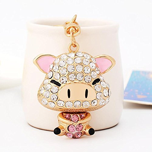 WWQY South Korea creative gift rhinestone cute squinting pig car key chain female bag pendant key chain small jewelry, pink pig 2070 -