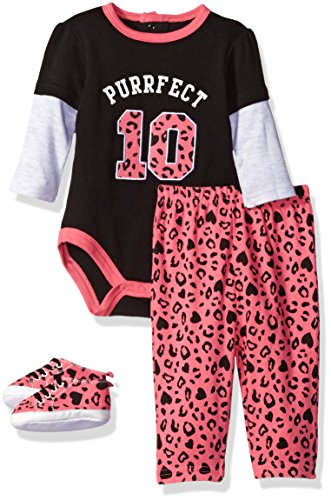 Bon Bebe Baby Girls' 3 Piece Pant Set with Soft Sole Sneakers and Bodysuit with Rear Snaps, Perfect Fuchsia, 0-3 Months Bon Bebe 3 Piece Bodysuit