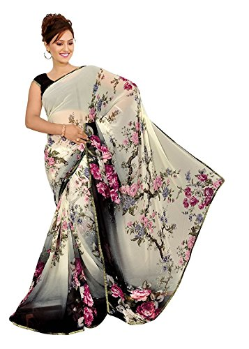 Saree Print - Women's Faux Georgette Floral Print Saree White/Black 6.30 m With Blouse Piece by Kalaa Varsha