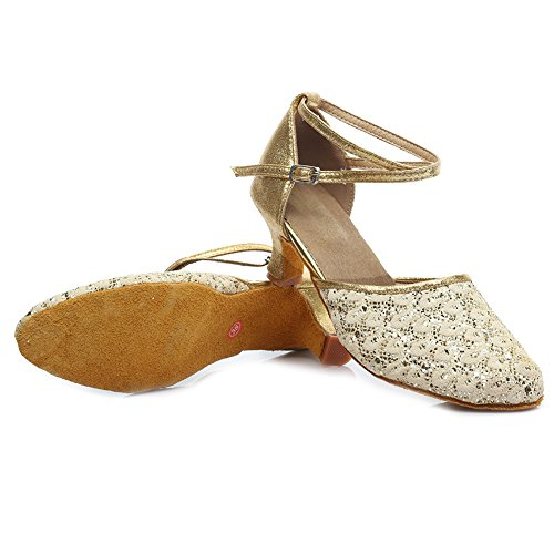 YKXLM Shoes Salsa Leatherette Dance Girls Standard Gold UKMF1802 2 Model Shoes Performance Ballroom Latin amp;Women's X0ZwX