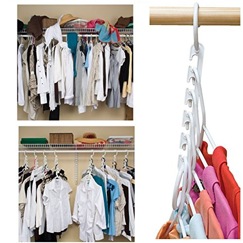 Wonder Hanger Closet Clothes Organizer/Space Saver Storage White Plastic 10 Pack (White Space Saver compare prices)