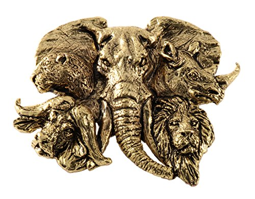 Head Pin Lion (Creative Pewter Designs Africa Big 5 Heads Pin Premium, 22K Gold Plating Pin, MG120PR)