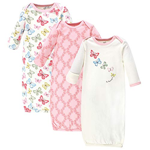 Touched by Nature Baby Organic Cotton Gowns, Butterflies 3-Pack, 0-6 - Gown Butterfly