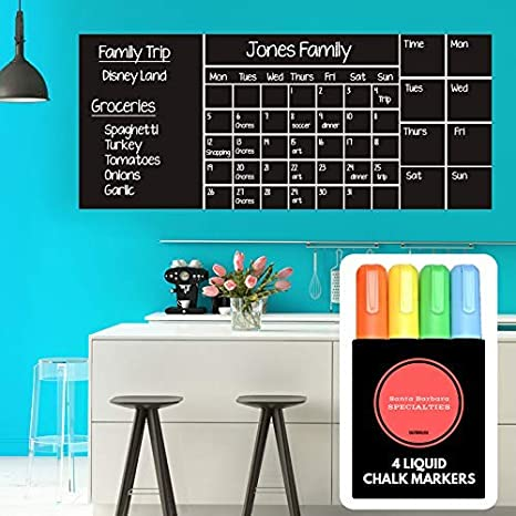 """Wall Calendar Chalkboard Dry Erase Calendar (X Large 53""""x 22"""") Monthly, Weekly Organizer, Drawing Board, 4 Liquid Markers & Eraser, 2019 Planner for ..."""