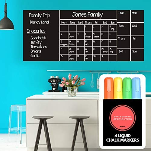 Wall Calendar Chalkboard Dry Erase Calendar (X Large 53