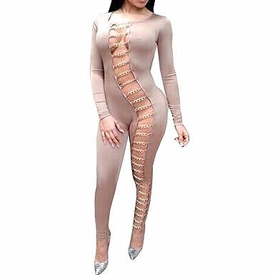 fe6b2e3fdd Black Long Sleeve Hollow Out Sexy Clubwear Women Bodycon Long Jumpsuit  Rompers (S
