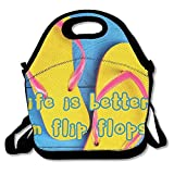 Dozili Life is Better in Flip-Flops Large & Thick Neoprene Lunch Bags Insulated