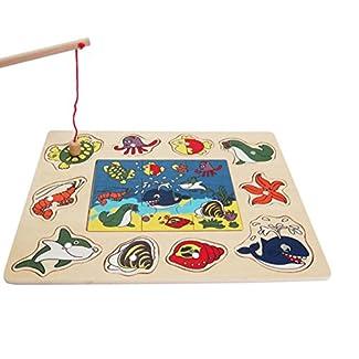 Bois Jeu de pêche magnétique et Jigsaw Jouet de pêche, animal magnifique