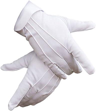 wlgreatsp Hombres Algod贸n de nylon Guantes blancos Guardia formal ...