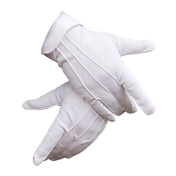 Vin beauty hombres Guantes blancos formales para la policía Tuxedo Honor Guard Disfraz de desfile Guantes de algodón de nylon 6zk24q