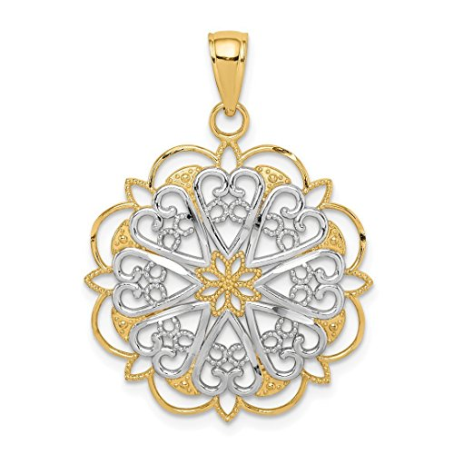 14k Yellow Gold Filigree Hearts Scalloped Edge Pendant Charm Necklace Love Fancy Fine Jewelry For Women Gift Set