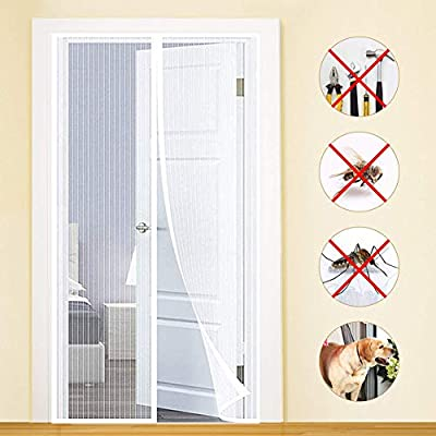 Cortina Ultrafina Cortina Mosquitera para Puertas MENGH Mosquitera Puerta 70x205cm Bueno para Ni/ños y Perros Gris Apagar Autom/áticamente