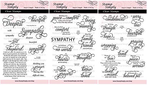 - Stamp Simply Clear Stamps Sympathy Sentiments Trio Condolences and Loss (3-Pack) 4x6 Inch Sheets - 30 Pieces