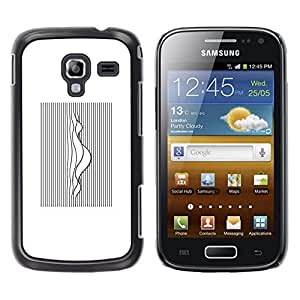 LECELL--Funda protectora / Cubierta / Piel For Samsung Galaxy Ace 2 I8160 Ace II X S7560M -- Music Sound Waves White Black --