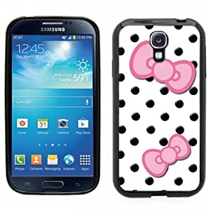Samsung Galaxy S4 SIIII Black Rubber Silicone Case - Cute Black Polka Dots with Pink Bows