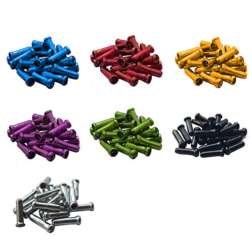 OUTFANDIA Cable End Crimps 140pcs 1.8mm, Anodized Mountain Bike Cable Ends, Aluminium Alloy Ferrules End Caps for Brake & Shifted Cable