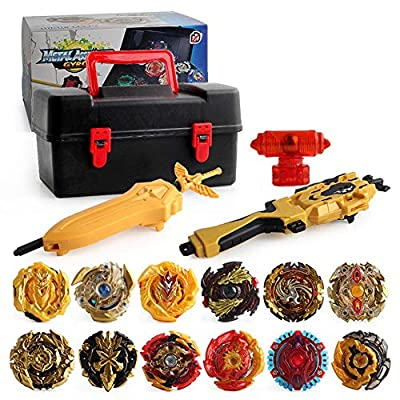 U-smile Burst Gyro Toy Set, Golden Gyroscope Set Battling Top Freely Assemble Burst Gyro Suit with Storage Toolbox 4D Launcher Burst Toy Children Classic Toys for Kid: Sports & Outdoors