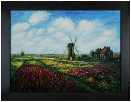 - overstockArt Tulip Field with The Rijnsburg Windmill Hand Painted Oil Canvas Art by Monet