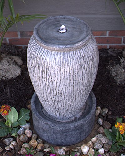 Pebble Lane Living Freestanding Electric Outdoor LED Lighted Freestanding Stone Finish Urn Fountain - Grey