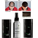 Bundle 4 Items: Revolution (Hairatin) Natural 2 Light Brown Hair Fibers + Hold Spray + Brilliance Comb