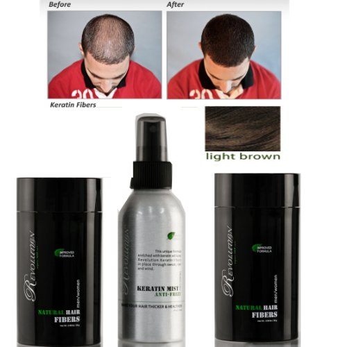 Bundle 4 Items: Revolution (Hairatin) Natural 2 Light Brown Hair Fibers + Hold Spray + Brilliance Comb by HAIRATIN