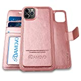 AMOVO iPhone 11 Pro Max Wallet Case [2 in 1 Detachable] Vegan Leather Case for iPhone 11 Pro Max (6.5'') [Wristlet] [Kickstand] iPhone 11 Pro Max Flip Case Gift Box Package (11ProMax (6.5'') Rosegold)