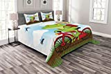 Lunarable Animal Bedspread Set Queen Size, Funny Frog on a Bike Catching Hunting Flies in The Nature Illustration of Wild Life, Decorative Quilted 3 Piece Coverlet Set with 2 Pillow Shams, Multicolor