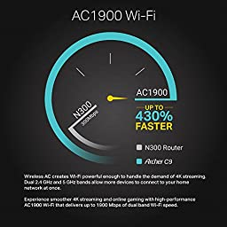 TP-Link AC1900 Wireless Wi-Fi Router - Long Range, High Powered, Dual Band, Gigabit (Archer C9)