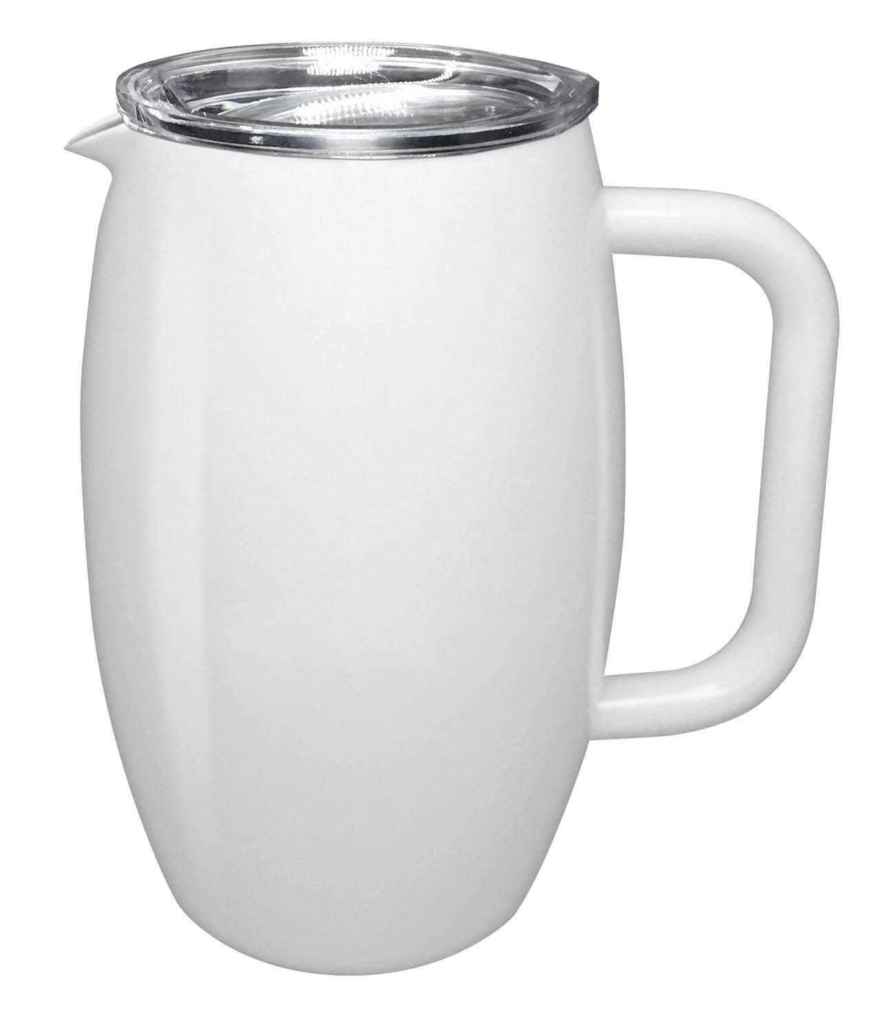 True North Stainless Steel Insulated Pitcher + Carafe with No-Spill BPA Free Triton Lid, Keeps Drinks Hot or Cold for 24 Hours, Perfect for Lemonade, Sangria, Coffee or Milk, 20 oz, Beach White by True North
