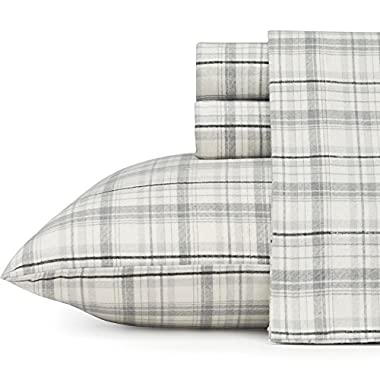 Eddie Bauer 216283 Beacon Hill Flannel Sheet Set, King, Gray