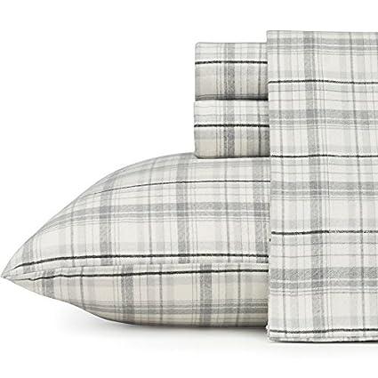 Eddie Bauer 216281 Beacon Hill Flannel Sheet Set, Full, Gray Revman International
