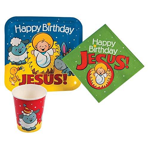 - Happy Birthday Jesus Nativity Paper Tableware Set