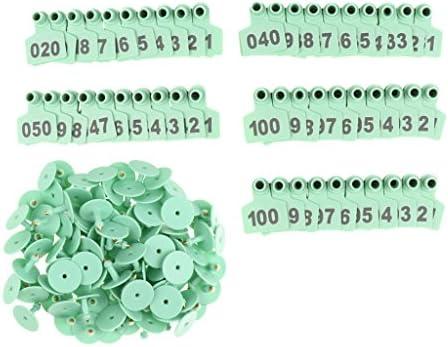 家畜識別 耳のタグセット 番号001-100 高品質プラスチック製 専用ツール 無害 安全 品質保証 100個入り 全3色 - 緑