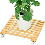 DULPLAY with Wheels Potted Plant Stand,Plant Dolly Solid Wood Flower Pot Rack for Indoor Outdoor Heavy Duty Rolling Tray-B 35x35cm(14x14inch)