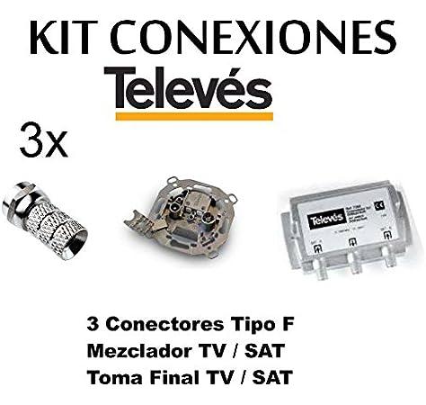 Kit Mezclador DIPLEXOR Separador + Toma SEPARADORA + 3 Conectores -F- TELEVES para Antena PARABOLICA …: Amazon.es: Electrónica