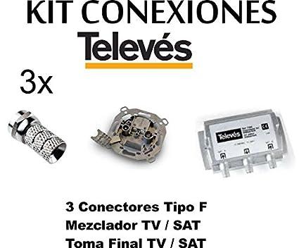 KIT MEZCLADOR DIPLEXOR SEPARADOR + TOMA SEPARADORA + 3 CONECTORES -F- TELEVES PARA ANTENA