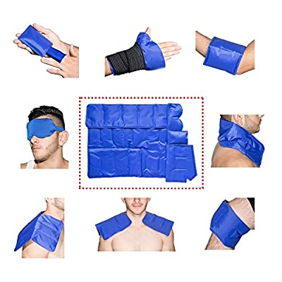 Pain Relief Gel Pack with Strap for Hot & Cold Therapy - Reusable Gel Pack for Injuries | Best as Heat Wrap or Cold Pack for Back, Waist, Shoulder, Neck, Ankle, Calves and Hip (7-in-1)