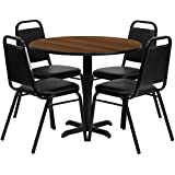 Flash Furniture 36 Round Walnut Laminate Table Set with 4 Black Trapezoidal Back Banquet Chairs