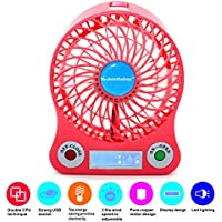TechIntheBox LED display Portable Fan 4-inch 3 Speeds Mini USB Rechargeable Fan with LED Light Powered By Electric-powered or 18650 Lithium Rechargeable Battery Micro USB Cable Via USB Port of Notebook/ Computer, Cool Fan for Desktop Indoor and Outdoor Activities As Camping/Boating/Climbing/Biking/Hiking/Travel and/Picnic/Hot Summer Outdoor Travelling ETC (Red)