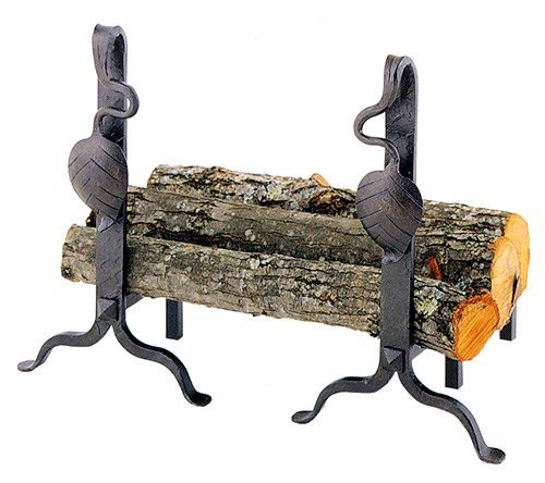 Stone County Ironworks Leaf Andirons Pair, Natural Black 205633-OG-143026-O-761403, Natural Black 205633-OG-143026-O-761403 O by Stone Country Ironworks