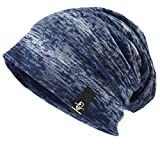 Ruphedy Mens Thin Slouchy Beanie Retro Baggy Hip-hop Skullcap for Summer Hat B079 (B081-Blue)