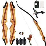 SinoArt 62' Recurve Bow Wooden Takedown Archery Bow 20 25 30 35 40lbs Draw Wight Included Arrow Rest Pad Stringer Tool String Nocks for Right and Left Hand