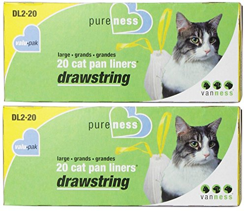 Large Drawstring Valu-Pak Cat Pan Liners, 20 Count (Pack of 2) Total 40 Drawstring Cat Pan Liners