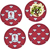 Red Diamond Dancers Set of 4 Lunch / Dinner Plates (Glass) (Personalized)