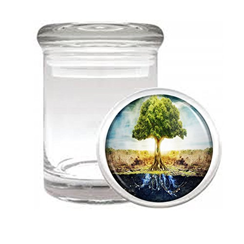 Medical Glass Stash Jar Tree of Life S1 Air Tight Lid 3