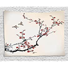 Pastel Tapestry Wall Hanging by Ambesonne, Cherry Branches Flowers Buds and Birds Asian Style Almond Tree Art with Painting Effect, For Bedroom Living Room Dorm, 60 W X 40 L, Black Cream and Burgundy