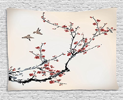 Ambesonne Pastel Tapestry Wall Hanging, Cherry Branches Flowers Buds and Birds Asian Style Almond Tree Art with Painting Effect, For Bedroom Living Room Dorm, 80 W X 60 L, Black Cream and Burgundy - Almond Branches