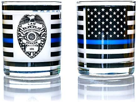 Greenline Goods Thin Blue Line Police Officer Whiskey Old Fashioned Glasses (Set of two) - 10 ounces - Classic Drinkware with Law Enforcement Flag Graphics - Shows Support for First Responders